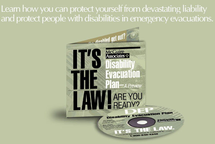 Image of a DVD for the Disability Evacuation Plan course - Learn how you can protect yourself from devastating liability and protect people with disabilities in emergency evacuations.